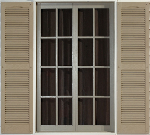 Mid america exterior vinyl shutters cathedral open louver for Used exterior shutters