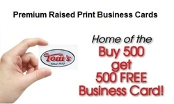 Premium Raised Print One Sided Business Cards One Color Toms Instant Printing