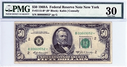 2115-B* (B* Block), $50 Federal Reserve Note New York, 1969A