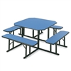 Square Cafeteria Table with Benches