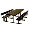 Rectangle Cafeteria Table with backrest