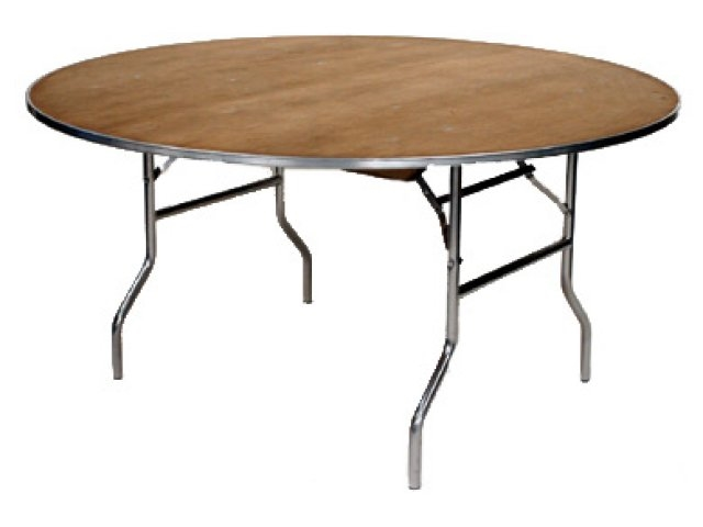 "60"" Round Cheap METAL EDGE Plywood Folding Table,  Florida Plywood Folding Tables, Lowest prices folding tables"