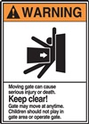Warning Moving Gate Can Cause Serious Injury Or Death
