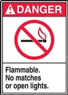 DangerFlammable. No Matches Or Open Lights