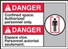 Danger Confined Space. Authorized Personnel Only