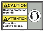 ANSI Caution Label Hearing Protection Required Label