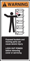 Warning Exposed Buckets And Moving Parts Can Cause Severe Injury