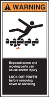 Warning Exposed Screw And Moving Parts Can Cause Severe Injury Sticker
