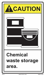 ANSI Caution Label Chemical Waste Storage Area Label