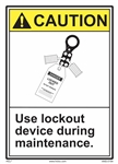 ANSI Caution Label Use Lockout Device During Maintenance Label