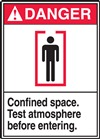 Danger Confined Space. Test Atmoshpere Before Entering