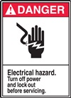 Danger Electrical Hazard. Turn Off Power and Lock Our Before Servicing