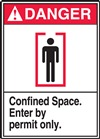 Danger Confined Space. Enter By Permit Only