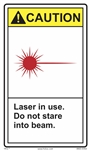 Caution Laser In Use - Do Not Stare Into Beam Label