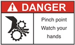 Danger Pinch Point Label - Watch Your Hands