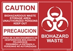 Caution Biohazardous Waste Storage Area Sign