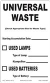 Universal Waste Used Lamps, Batteries Label | HCL