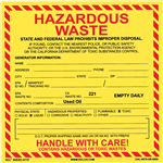 CA Used Oil Hazardous Waste Label