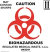 Caution Biohazardous Sharps Label