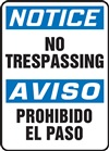 Notice Sign - No Trespassing (Bilingual)