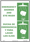 Safety Sign - Emergency Shower And Eyewash (Bilingual)