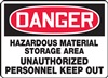 DangerHazardous Material Storage Area