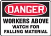 Danger Sign - Workers Above Watch For Falling Material