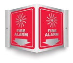 Safety Sign - Fire Alarm (Brushed Aluminum) Projecting