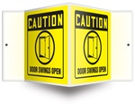 Caution Sign - Door Swings Open Projecting Sign