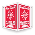 Safety Sign - Fire Alarm (Bilingual) Projecting