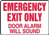 Emergency Exit Only Door Alarm Will Sound Sign | HCL Labels