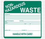 Non Hazardous Waste Pinfed Tyvek Label
