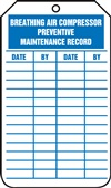 Breathing Air Compressor Maintenance Record