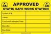 Approved - Static Safe Work Station Label