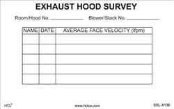 Exhaust Hood Survey Adhesive Vinyl Label