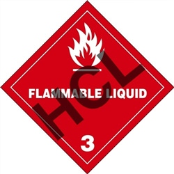 Flammable Liquid 3  DOT HazMat Label