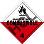 Spontaneously Combustible 4 DOT Label