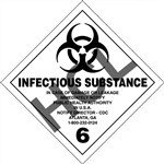 Infectious Substance 6 DOT Label Only