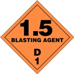 Division 1.5 Blasting Agent 1.5D1 DOT Placard