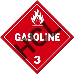Gasoline 3  DOT HazMat Placard