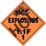Explosives 1.1F DOT Placard