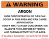 Warning Argon Concentration sign