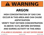 Warning Argon Concentration Sign | HCL Labels