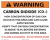 Warning Carbon Dioxide Concentration sign