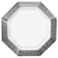 "White and Silver 11"" Plate (10pcs)"