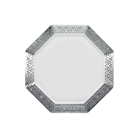 "White and Silver 7.25"" Plate (10pcs)"