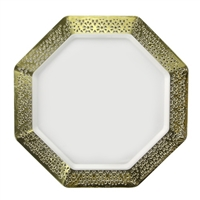 "White and Gold 9.25"" Plate (10pcs)"