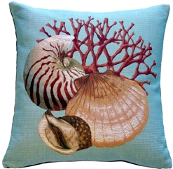 Coral and Shells Blue Nautical Throw Pillow
