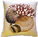 Coral and Shells Cream Nautical Throw Pillow