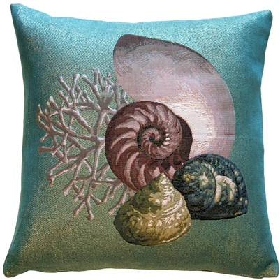 Coral and Shells Shimmering Tapestry Throw Pillow